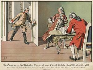 Crown Prince Frederick of Prussia Surprised by His Father, the King, While at Flute Practice by Carl Rochling