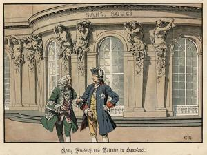 Frederick the Great and Voltaire at Sanssouci by Carl Rochling