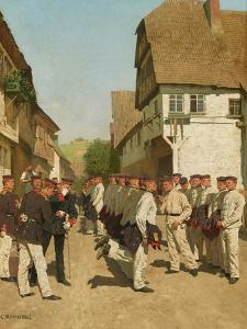 Roll-Call During on Maneuvers, before 1894 by Carl Rochling