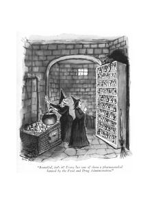 """""""Beautiful, isn't it? Every last one of them a pharmaceutical banned by th?"""" - New Yorker Cartoon by Carl Rose"""