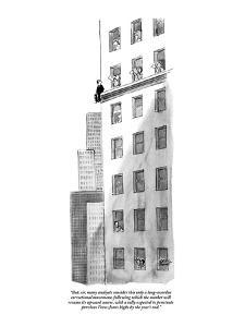 """""""But, sir, many analysts consider this only a long-overdue correctional mo?"""" - New Yorker Cartoon by Carl Rose"""