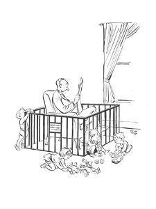 Man is seeking refuge from his children inside their playpen. - New Yorker Cartoon by Carl Rose