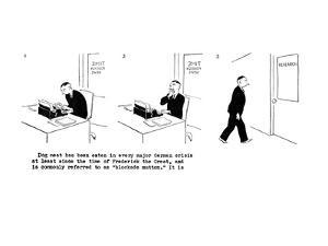 Multi-panel cartoon; a man types an article for 'Time' magazine about  dog? - New Yorker Cartoon by Carl Rose