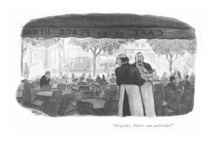 """""""Regardes, Pierre—an américain!"""" - New Yorker Cartoon by Carl Rose"""