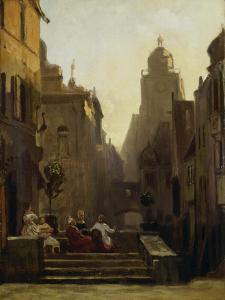 Chat Close to the Pharmacy Called the 'Strochen-Apotheke', after 1875 by Carl Spitzweg