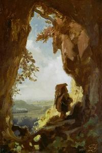 Gnom, von einer Höhle die erste Eisenbahn betrachtend by Carl Spitzweg