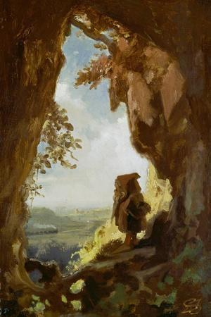 Gnom, von einer Höhle die erste Eisenbahn betrachtend