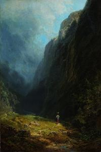 In the Alpine High Valley (Landscape with Mt. Wendelstei), C. 1871 by Carl Spitzweg