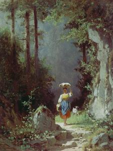Maedchen Mit Ziege (Heimkehr Von Der Alm) Um 1858/1860 by Carl Spitzweg