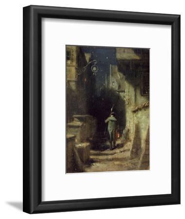 Nachtwächter in einer Gasse einer alten Stadt. Um 1875