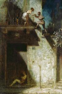 Pierrot und Columbine (Stelldichein). Um 1875 by Carl Spitzweg