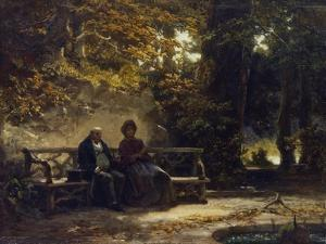 Sitting Couple on a Bench (Resting Promenaders), 1860 by Carl Spitzweg