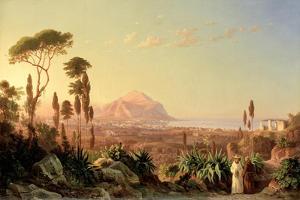 Palermo with Mount Pellegrino, C.1850 by Carl Wilhelm Goetzloff
