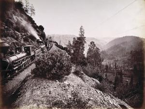 Central Pacific Railroad Train and Coaches in Yosemite Valley, 1861-69 by Carleton Emmons Watkins
