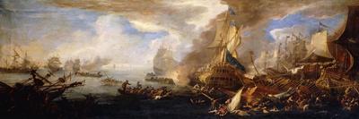 A Sea Battle with Sardinian and Venetian Warships and Sardinian and Egyptian(?) Galleys-Carlevarijs Luca-Premium Giclee Print