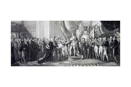 Carlo Alberto Promulgating New Italian Civil Code, June 20, 1837, at Royal Palace--Giclee Print