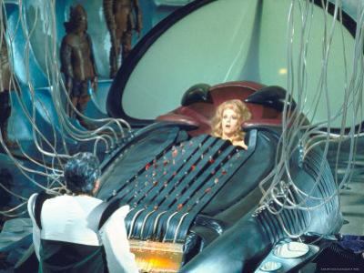 "Actress Jane Fonda trapped in Machine which kills during scene from Roger Vadim's ""Barbarella"""