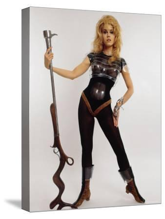 """Actress Jane Fonda Wearing Space Age Costume for Title Role in Roger Vadim's Film """"Barbarella"""""""