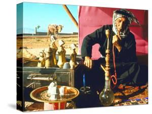 Arab Shepherd Smoking His Hookah as He Relaxes in a Roadside Tea Tent by Carlo Bavagnoli