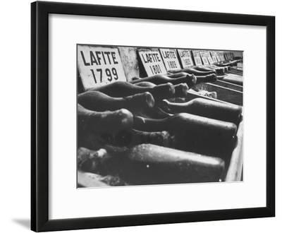 Bottles of Lafite Wines, Now Museum Pieces in French Wine Cellar