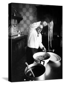 Film-Maker Dino de Laurentis Making Pasta by Carlo Bavagnoli