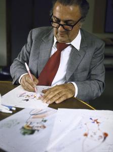 "In Rome's Cinecitta Movie Center, Federico Fellini Draws for the Motion Picture ""The Clowns"" by Carlo Bavagnoli"