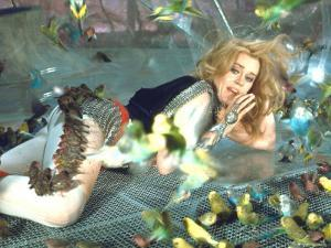 "Jane Fonda is Preyed Upon by Parakeets and Finches in Scene from Roger Vadim's ""Barbarella"" by Carlo Bavagnoli"