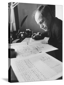 Orchestra Conductor Pierre Boulez Studying and Writing Music in His Home by Carlo Bavagnoli