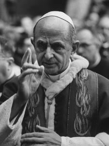 Pope Paul Vi, Officiating at Ash Wednesday Service in Santa Sabina Church by Carlo Bavagnoli