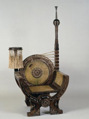 Art Nouveau Style Throne Chair with Asymmetrical Decoration