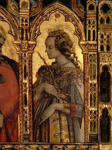 St. Catherine of Alexandria, Detail from the San Martino Polyptych by Carlo Crivelli