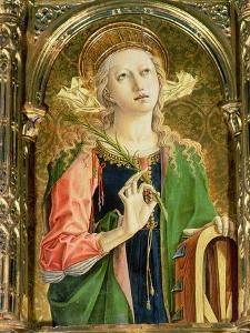 St. Catherine of Alexandria, Detail of the Sant'Emidio Polyptych, 1473 by Carlo Crivelli