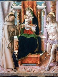 The Virgin and Child with Saints Francis and Sebastian, 1491 by Carlo Crivelli
