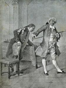 Scene from Comedy Benevolent Curmudgeon by Carlo Goldoni