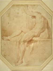 Nude Seated and Turning Away, Grasping a Staff in His Left Hand by Carlo Maratti