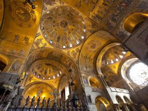Gold Mosaics on the Dome Vaults of St. Mark's Basilica in Venice, Veneto, Italy, Europe by Carlo Morucchio