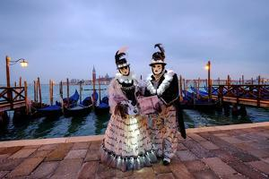 Masks and Costumes at St. Mark's Square During Venice Carnival, Venice, Veneto, Italy, Europe by Carlo Morucchio