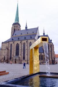 St. Bartholomew's Cathedral and One of the Three Modern Gold Fountains, Czech Republic by Carlo Morucchio