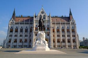 The Hungarian Parliament Building and Statue of Gyula Andressy, Budapest, Hungary, Europe by Carlo Morucchio