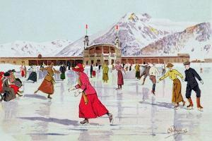 The Skating Rink in Davos, Switzerland by Carlo Pellegrini