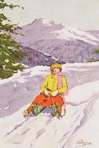 Young Woman Tobogganing by Carlo Pellegrini