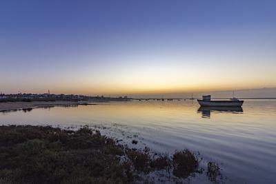 Dawn Seascape of Ria Formosa Wetlands Natural Park, Shot in Cavacos Beach. Algarve. Portugal