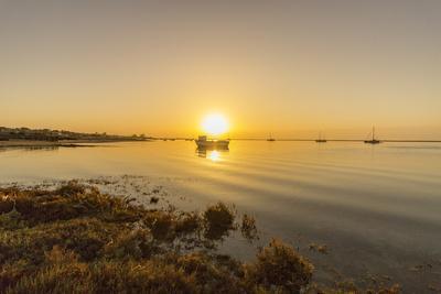 Sunrise Aerial Seascape, of Ria Formosa Wetlands Natural Park, Shot in Cavacos Beach. Algarve. Port
