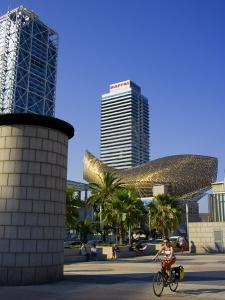 Barceloneta Beach and Port Olimpic with Frank Gehry Sculpture, Barcelona, Spain by Carlos Sanchez Pereyra