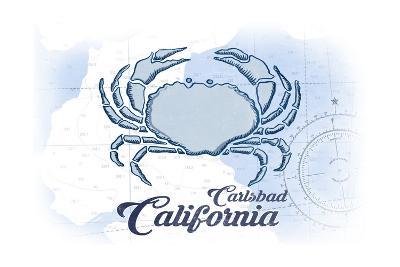 Carlsbad, California - Crab - Blue - Coastal Icon-Lantern Press-Art Print