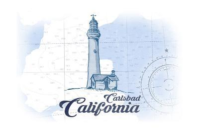 Carlsbad, California - Lighthouse - Blue - Coastal Icon-Lantern Press-Art Print