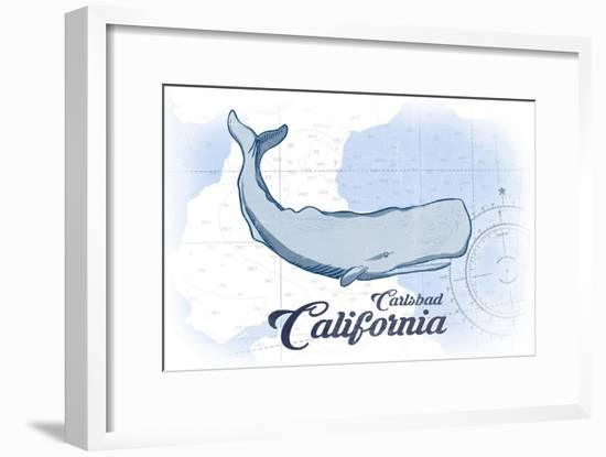 Carlsbad, California - Whale - Blue - Coastal Icon-Lantern Press-Framed Art Print