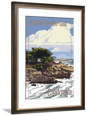 Carmel-by-the-Sea, California - View of Cypress Trees-Lantern Press-Framed Art Print