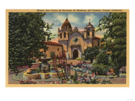 Carmel, CA - Mission San Carlos de Borromeo de Monterey-Lantern Press-Art Print