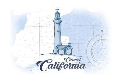 Carmel, California - Lighthouse - Blue - Coastal Icon-Lantern Press-Art Print